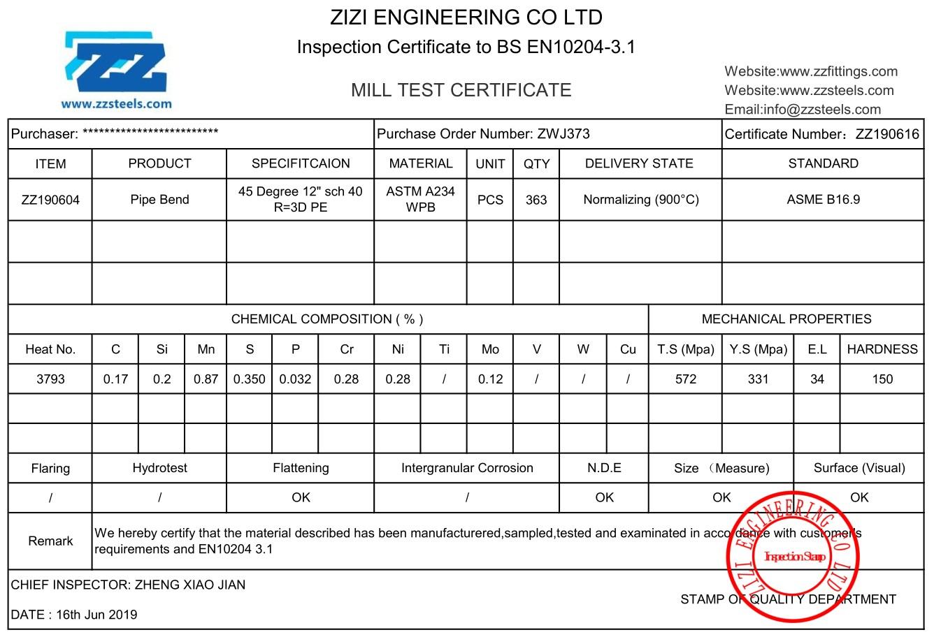 "45 Degree Pipe Bend R=3D 12"" Sch 40 Carbon Steel ASME B16 9 | ZIZI"